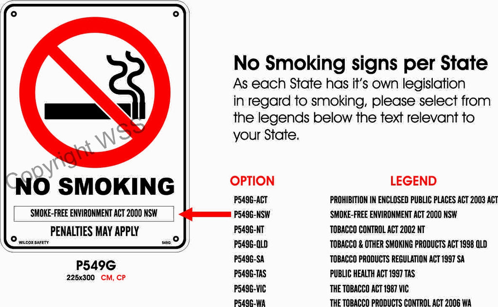 No Smoking Smoke-Free Environment etc. Sign W/ Picture