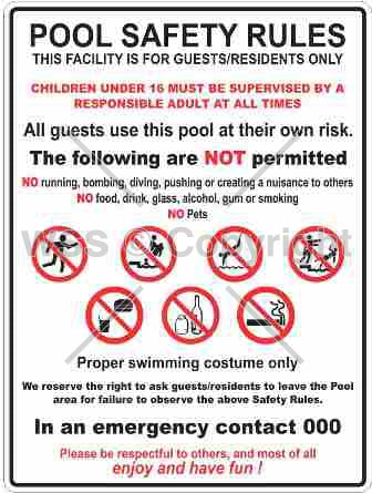 Pool Safety Rules Sign W/ Picture 2