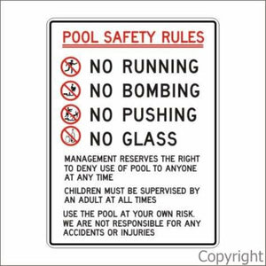 Pool Safety Rules Sign W/ Picture