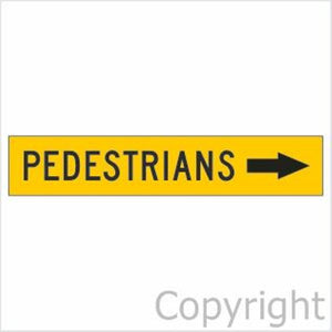 Pedestrians Sign With Right Arrow