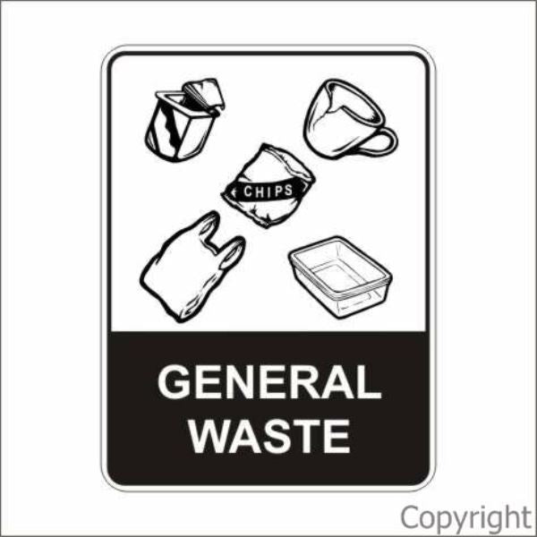 Recycled General Waste Sign W/ Picture