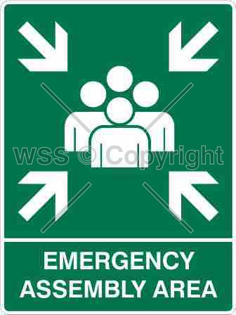Emergency Assembly Area Sign W/ Picture
