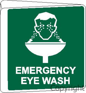 Emergency Eye Wash Sign Double Sided Off Wall