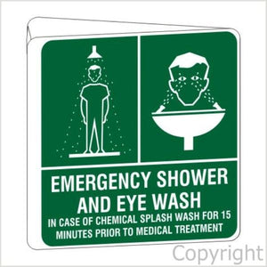 Emergency Shower And Eye Wash D/Sided Off Wall Sign