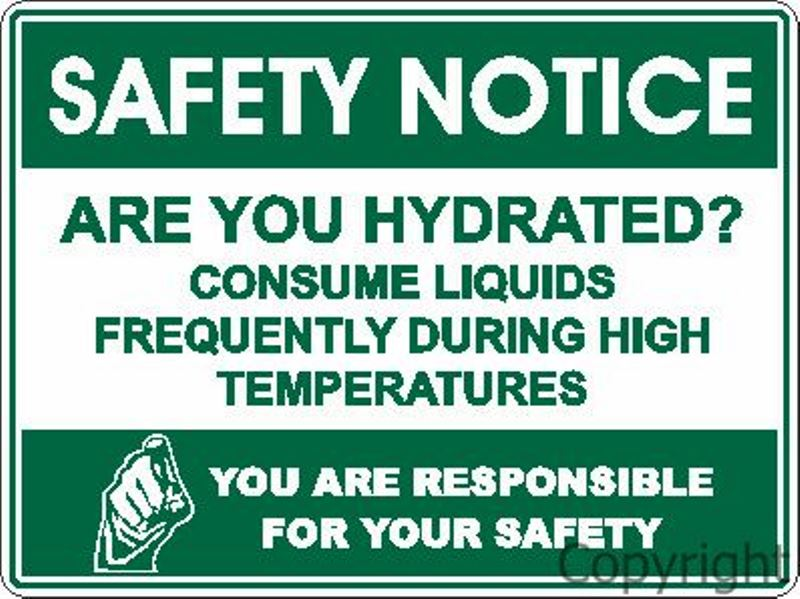 Safety Notice Hydrated etc. Sign