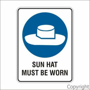 Sun Hat Must Be Worn Sign W/ Picture