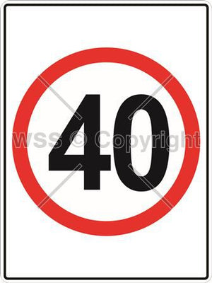 40 km/hr Sign Rectangular