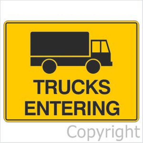 Trucks Entering Sign
