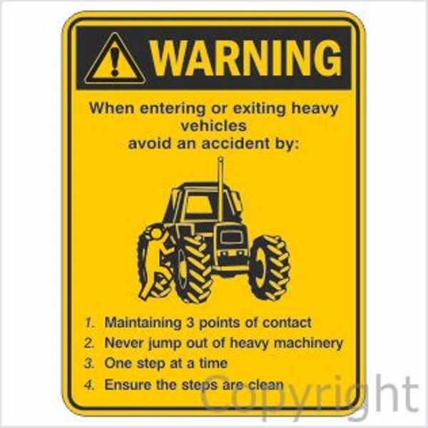 Warning Heavy Vehicles Instructions Sign
