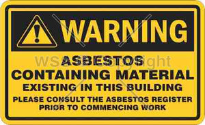 Warning Asbestos Containing Material etc. Sign