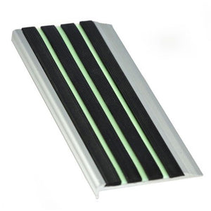 RCF10L aluminium stair nosing with Luminous insert 10mm x 71mm x 3620mm