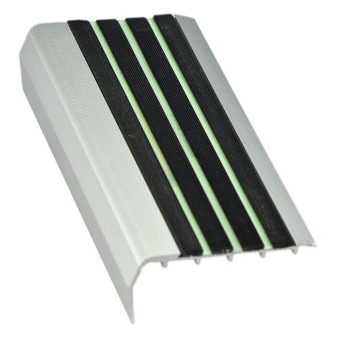 RNACL aluminium stair nosing with luminous insert for high pile carpet 37mm x 75mm x 3.620M