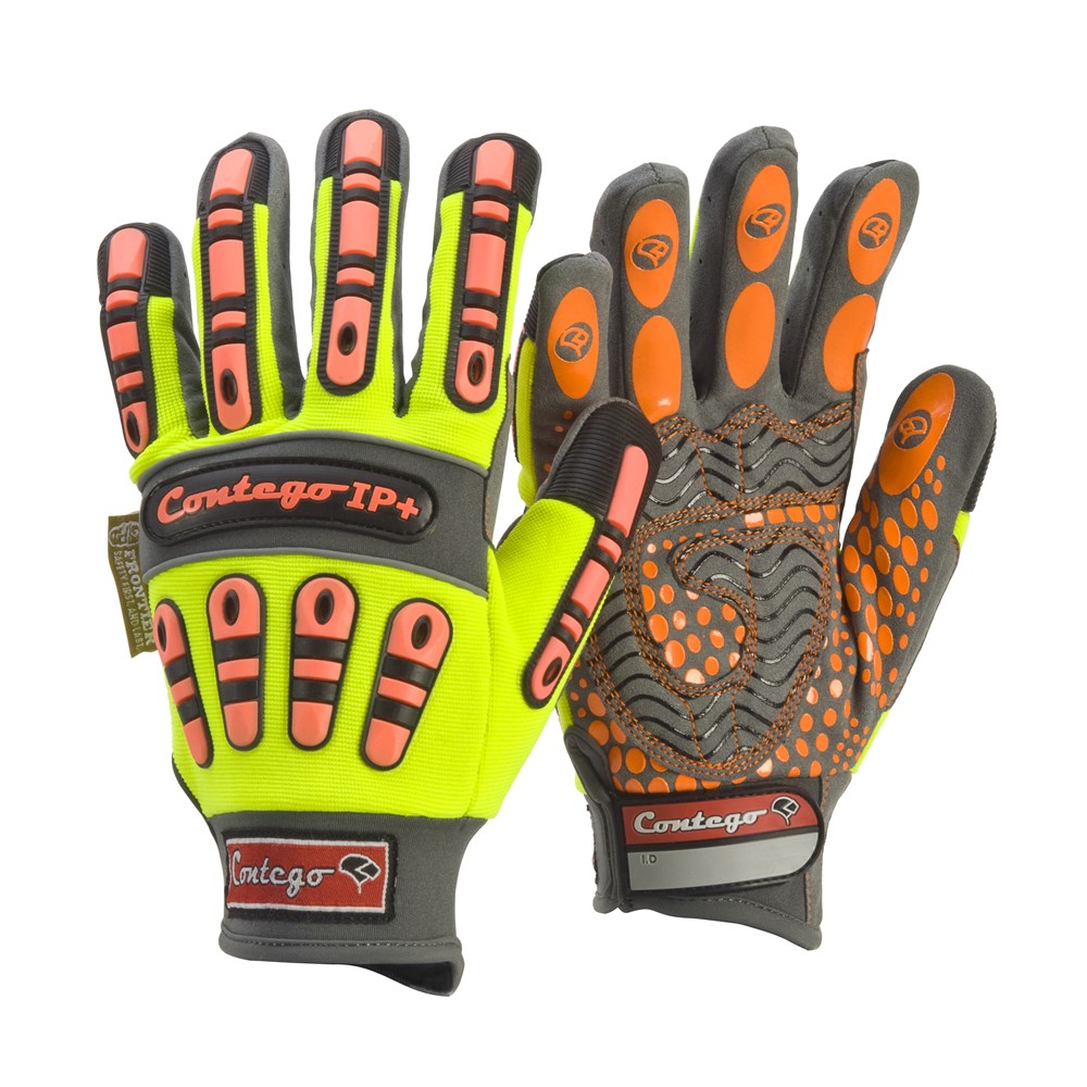 Contego HiVis Work Gloves Mechanics IP+ With Impact Protection Glove
