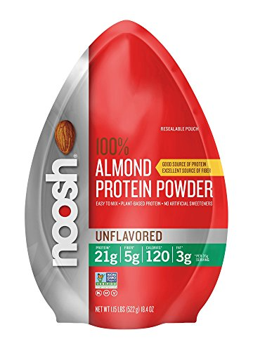 NOOSH Plant Based Almond Protein Powder (Unflavored, 1.15 lbs) - Vegan, All Natural, 21g of protein per scoop