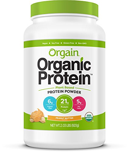 Orgain Organic Plant Based Protein Powder, Peanut Butter, Vegan, Non-GMO, Gluten Free, 2.03 Pound, 1 Count, Packaging May Vary