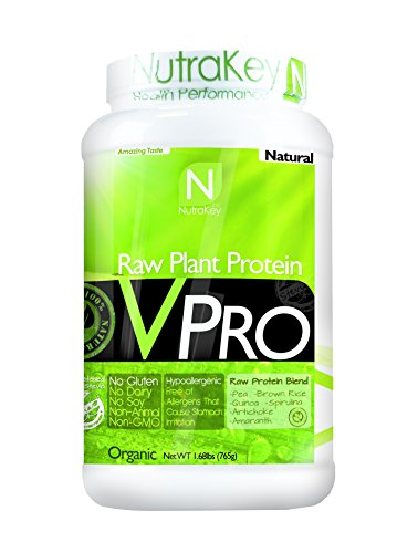 NutraKey V-Pro, Raw Plant Based Protein Powder with 23g of Protein, Natural, 2-Pound