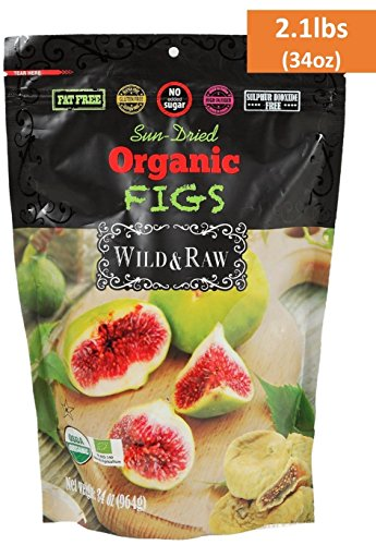 ORGANIC TURKISH FIGS - BULK SIZE - 2.1lbs (34oz) - Kosher Non-GMO Sun Dried