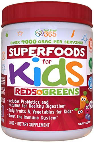 Doctor Formulated: Superfoods For Kids (60-Day Supply): Red & Greens, Vitamins, Organic Ingredients, Gluten Free, Vegan, Whole Food Powder – Fruits, Veggies, Probiotics & Digestive Enzymes.