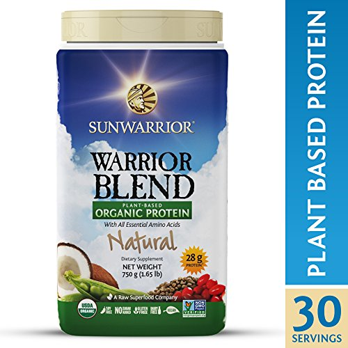 Sunwarrior - Warrior Blend, Plant Based, Raw Vegan Protein Powder with Peas & Hemp, Natural, 30 Servings