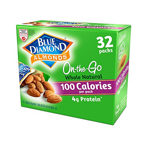 Blue Diamond Almonds 100 Calories Per Bag - 32 Grab and Go Bags,.625 Oz (Individual),20 Oz (net Weight)