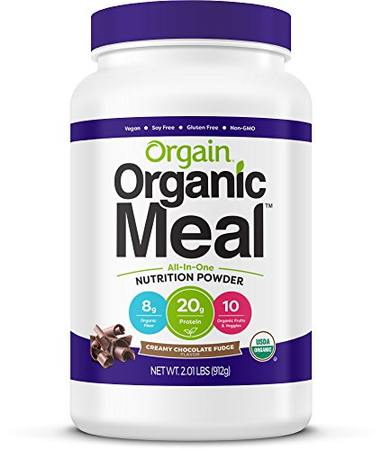 Orgain Organic Plant Based Meal Replacement Powder, Creamy Chocolate Fudge, 2.01 Pound, 1 Count, Vegan, Non-GMO, Gluten Free, Packaging May Vary