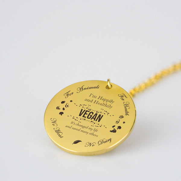 Vegan Round Pendant Necklace