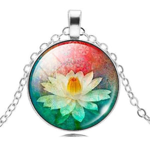 Mandala Lotus Flower Necklace Pendant - Jewelry - Bentyz
