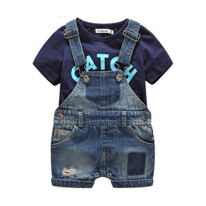 Baby denim overall with letter printed T-shirt - Set - Bentyz