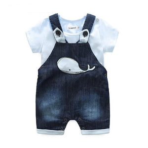 Baby denim overall with letter printed T-shirt-Set-Bentyz