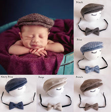 Baby newborn peaked beanie cap + Bow Tie - Photography props