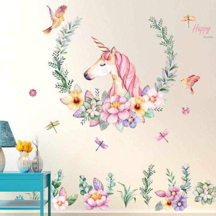 Unicorn Flower Stickers - Room decoration