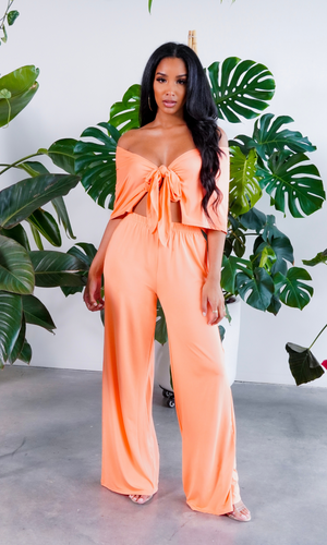 Meant To Be | Tie Front Set - Orange