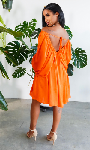 She's Classy l Flow Dress Orange Preorder ships early May