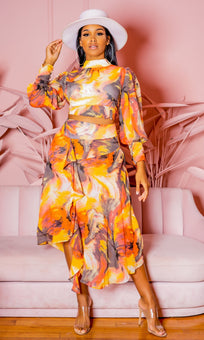 Fashionably Late Orange Marble l  Two Piece Skirt Set