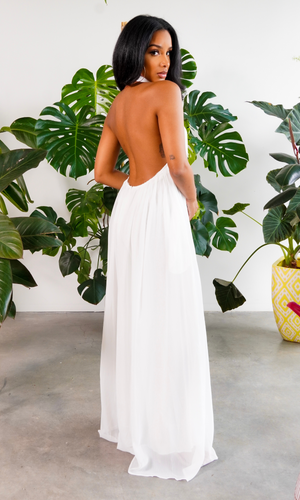 Cute & Casual l Halter Loose Jumpsuit - White