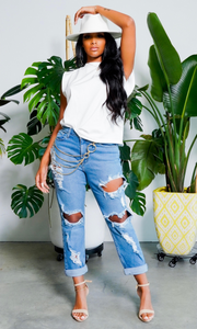 Cuffing Season | Ripped High Waist Boyfriend Jeans - FINAL SALE