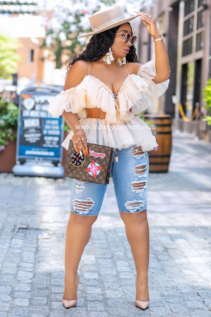 The Prettiest Of Them All | Off The Shoulder Ruffle Top Nude/ Pink - Cutely Covered