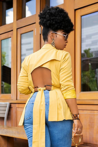 Go Getter | Cut Out Back Blazer - Mustard - Cutely Covered