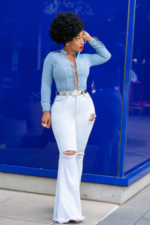 Curve Hugger | Light Blue Bell Bottom Jeans - Cutely Covered