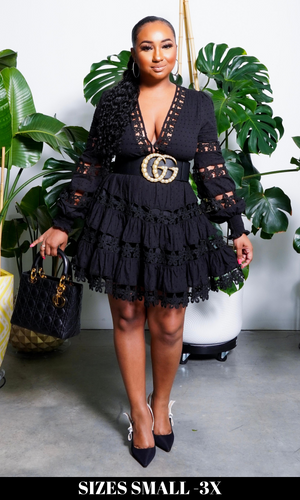 Baby Doll | Embroidery Dress - Black
