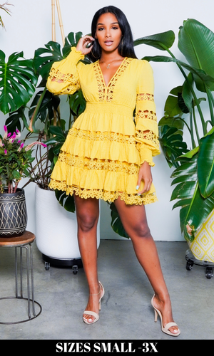 Baby Doll | Embroidery Dress - Mustard
