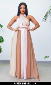 Vibrant Vibes l Color Block Maxi Dress - Blush/ Mocha