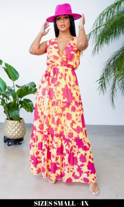 So Classy | V Neck Floral Maxi Dress - Yellow/ Pink