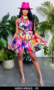 Picture Perfect | Colorful Belted Dress
