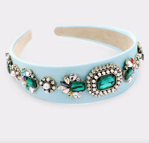 Too Cute Sis | Jewel Bling Headband - Light Blue - Cutely Covered