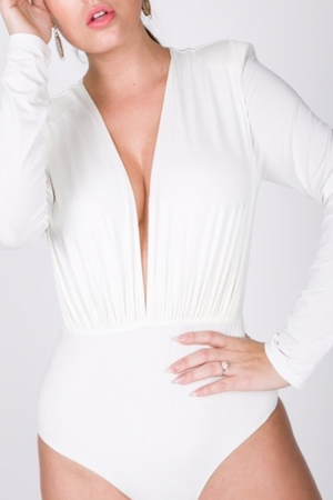 Brooke | Deep V Bodysuit White/ Black - Cutely Covered