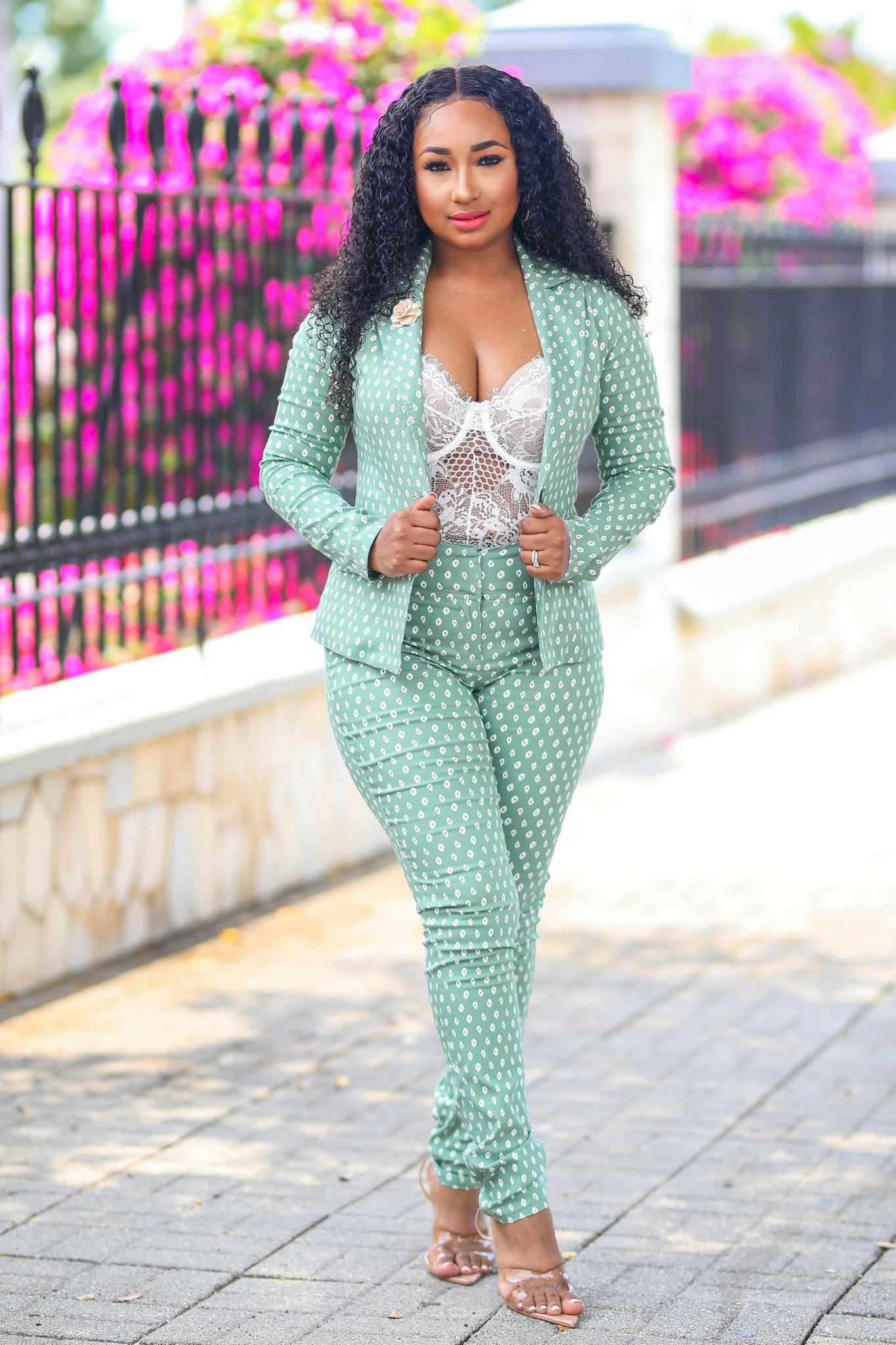 Boss Babe | Blue/ Sage Suit Set - Cutely Covered