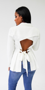 Go Getter | Cut Out Back Blazer - White/ Mustard