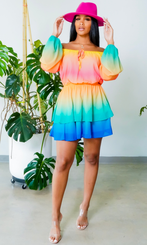 Taste of the Rainbow | Ombre Mini Dress -  preorder ships around April 1