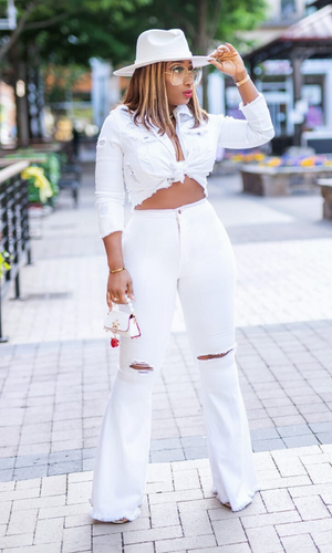 Perfect Silhouette | Bell Bottom Jeans - White